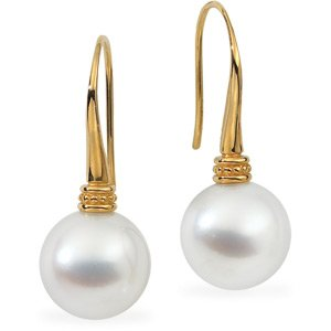 18k Yellow Gold S. Sea Cult. Pearl Earring 12mm Round Fine - JewelryWeb