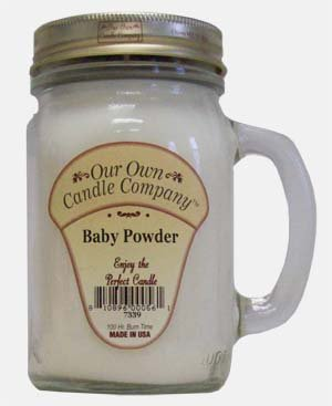 13 oz BABY POWDER Scented Jar Candle (Our Own Candle Company Brand) Made in USA - 100 hr burn time