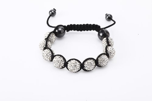 Fashion Nine 12mm Fired Clay Bead with Hand Set White Czech Crystals and Hematite Beads Shamballa Adjustable Bracelet