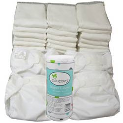 Economy Prefold Diaper Package - Infant 7-15 lbs - OsoCozy prefolds and OsoCozy Flushable Liner with Bummis Super Whisper Wraps