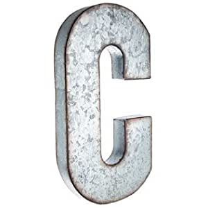 Amazoncom large galvanized metal letter c for Giant galvanized letters