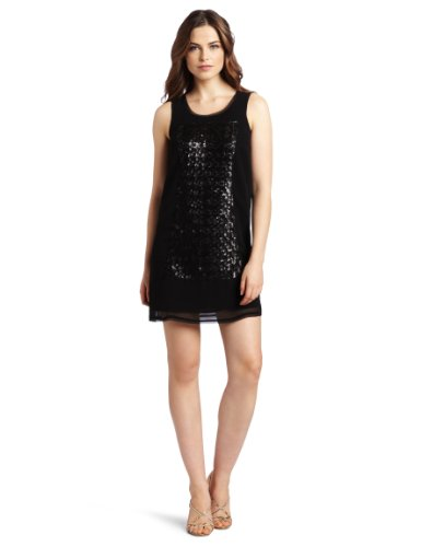 Kensie Women's Sequin Sleeveless Shift Dress, Black, 8