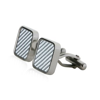 Hip Light Carbon Fibre Square Stainless Steel Cufflinks with Presentation Box