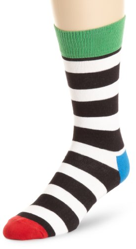 Happy Socks Women's Happy Socks Womens Thick Stripes Sock, Black/White, 9-11