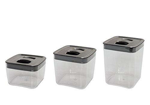 Click Clack Cube Storage Containers with Stainless Steel Lids, Set of 3 (Click Clack Stainless Steel compare prices)