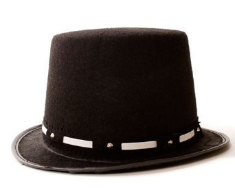 Dress Up America Halloween Party Tuxedo Top-hat - Silver Trim - Adult