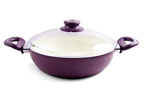 Essenso Ecotouch Lazio Enamel-Coated Low Dutch Oven with Nonstick Ceramic Interior, PTFE / PFOA Free, 3 Quart, Purple (Ceramic Coated Dutch Oven compare prices)