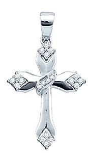 Genuine Icecarats Designer Jewelry Gift 14K White Gold 0.19Ctw Diamond Cross Pendant