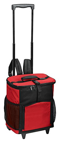 GOODHOPE Bags Cooler Shuttle with Tray Rolling Wheel Cooler Convertible To Backpack, Red (Soft Cooler On Wheels compare prices)