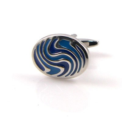 Blue and Silver Swirl Cuff links
