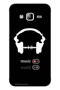 MiiCreations 3D Printed Back Cover for Samsung Galaxy J3,For Music Lover, Music World