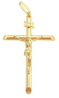 Cross Crucifix Yellow Gold Religious Charm Pendant