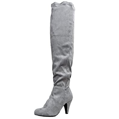 Qupid METHOD-01 Stretchy Over the Knee Thigh High Heel Sexy Boot,Method-01 Gray Stretch Su 5.5