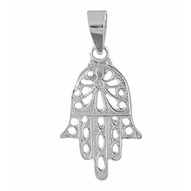 Classic Sterling Silver Filigree Hamsa Pendant