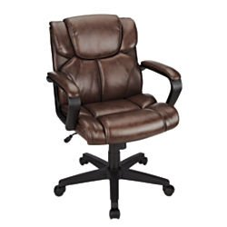 Realspace Briessa Mid-Back Chair, Brown/Black