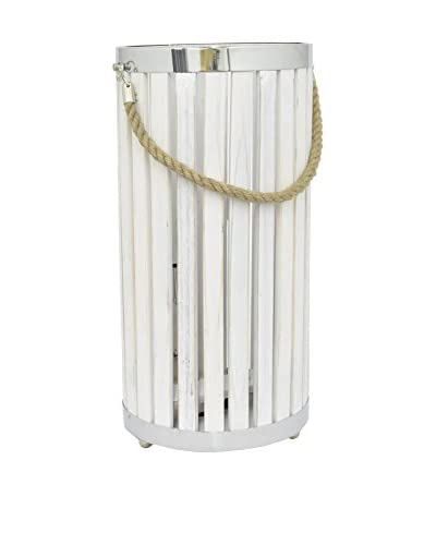 Three Hands 2-Light Wood Lamp with Rope Handle, White