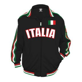 Italia Track Jacket, Italian World Cup Soccer Track Jacket, XX-Large, Black