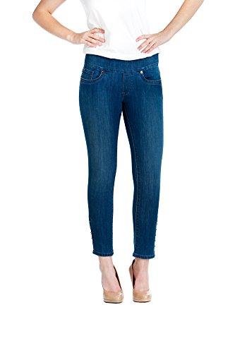Bluberry Denim Women's Plus Size Premium Medium Wash Capri Slim Cut Jeans 22W Medium Blue Wash