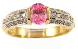 14k Yellow Gold, Simple Classic Design Ring with Lab Created Oval Shape Pink Colored Stone
