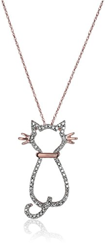 14k Rose Gold and Diamond Cat Pendant Necklace (1/6 cttw, I-J Color, I2-I3 Clarity)