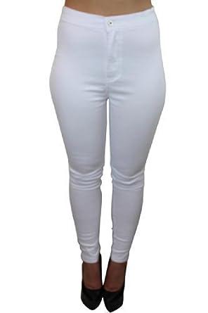 Celeb Look High Waisted White Skinny Jeans