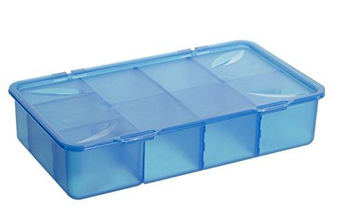 1109906644 Aufbewahrungs-Box mit Einteilungen und Deckel aus Kunststoff (PP), mit Scharnierdeckel, übersichtliche Aufbewahrunng von Kleinteilen leichtgemacht, ca. 33.9 x 19.6 x 7.6 cm (LxBxH), blau