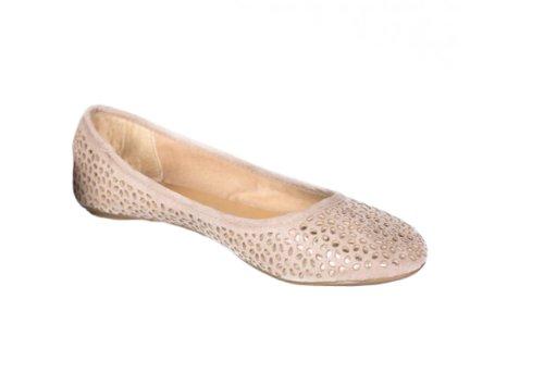 Women'S Fashion Style Stone Laser Cut Ballerinas (Stone, Us 6-Uk 4) front-862242