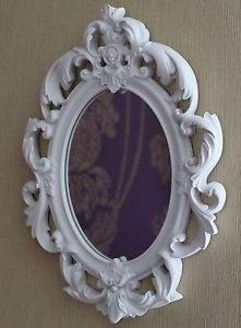 Ornate french oval white wall mirror french for Baroque oval wall mirror