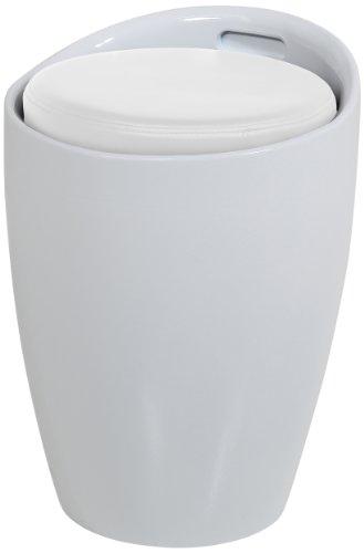 48424 Sitzhocker Amalie, Sitzkissen Kunstleder mit Stauraum und Griff, circa 35,5 x 51 cm, weiß