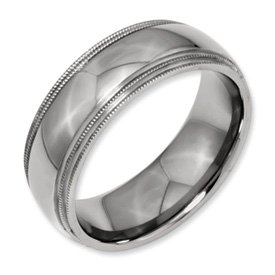 Genuine IceCarats Designer Jewelry Gift Titanium Grooved And Beaded Edge 8Mm Polished Band Size 13.00