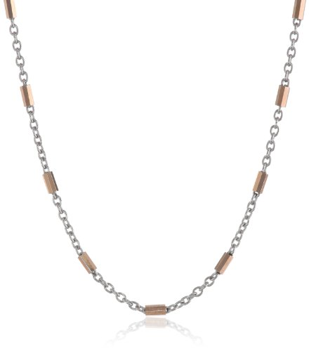 14K Two-Tone White And Rose Gold Fine Rolo And Diamond Cut Bar Chain Necklace, 18""