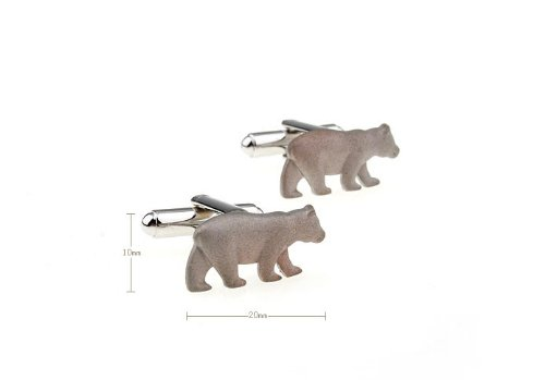 Silver Polar Bear Cufflink Brushed Finish Anmial Cuff link