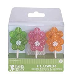 Oasis Supply Glitter Flowers Candle Holders with Birthday Candles