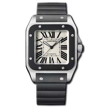 Cartier Men's W20121U2 Santos 100 Automatic Rubber Strap Watch from Cartier
