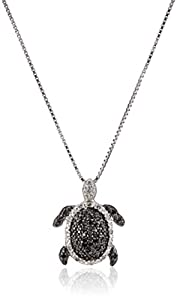 Sterling Silver Black and White Diamond Turtle Pendant Necklace (1/4 Cttw, I Color, I2-I3 Clarity), 18