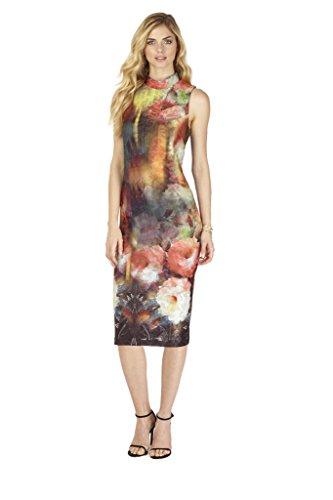 Womens Mock Neck Midi Dress X-Large Black/Multi
