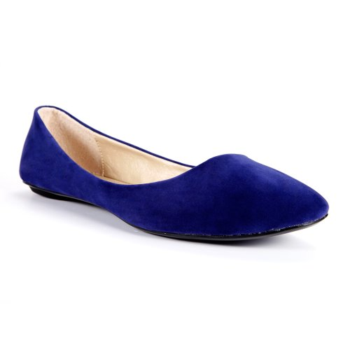 78479873088 Womens Ballet Flats Ballerina Slippers Casual Slip On Ladies Faux Suede US  7 Blue