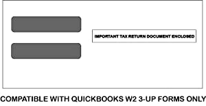 QuickBooks 3-UP Envelopes - compatible with 3-up W2 forms double window envelopes for mailing W-2 forms to employees (100 envelopes) * Meets IRS Regulations