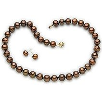 14k, 7-7.5mm chocolate Cultured Pearl Necklace and Earrring Set