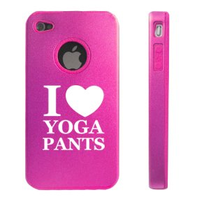 MIP Apple iPhone 4 4S Hot Pink D9809 Aluminum & Silicone Case Cover I Love Yoga Pants at Sears.com