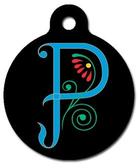 Monogram Letter P Pet ID Tag for Dogs and Cats