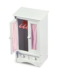 Badger Basket Doll Armoire With Three Hangers - Pink/White