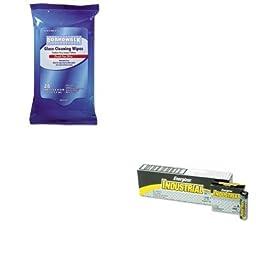 KITBWK341WEVEEN91 - Value Kit - Boardwalk Glass Wipes (BWK341W) and Energizer Industrial Alkaline Batteries (EVEEN91)