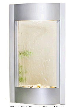 Adagio Serene Waters Silver Mirror in Silver Metallic Finish Wall Fountain