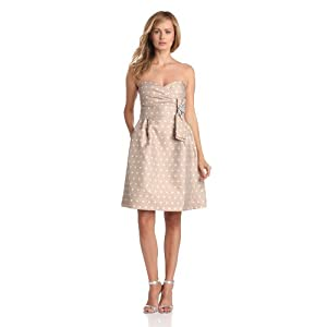 Eliza J Women's Strapless Dot Dress With Rhinestone Broche, Taupe Dot, 6