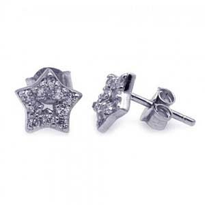 Sterling Silver Pave Cubic Zirconia Star Stud Earrings