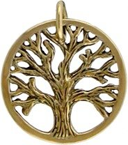 Small Round Open Design Textured TREE OF LIFE Pendant in Bronze for Men or Women, #7439