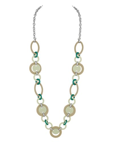 Voylla Gray; Teal Green Hoop Necklace; Valentine Gift (multicolor)