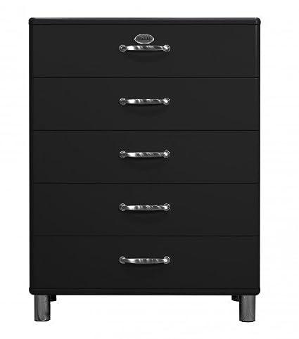 Kommode Malibu 5295 mit 5 Schubladen in schwarz Sideboard von Tenzo