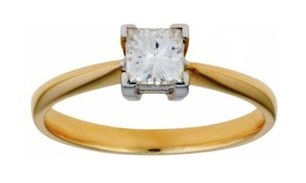 Moissanite 18ct Yellow Gold 0.40 Carat Square Cut Ring - Zoe Kay Jewellery